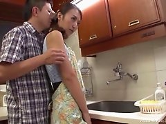 Beautiful Japanese wife gets shagged hard while in the kitchen