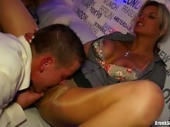 Insatiable bitches give blowjobs to their kinky colleagues