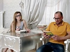 Blonde with glasses Sonya Sweet pounded and gets a mouth full of cum