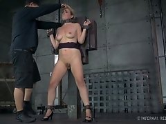 Kinky perverted stud chained his busty light haired wifey before fucking her hard