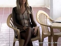 Smoking hot blonde Simone tries out her new black stockings