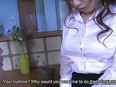 Slutty Japanese secretary unbuttons her blouse and shows off boobies
