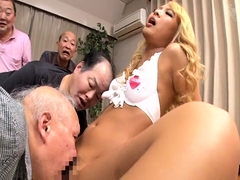 Cute Asian babe has a gang of horny old men sharing her slit