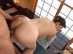 Chubby Japanese wife wearing a kimono gets her twat licked and banged