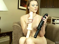 Cutie plunges toys into her soaking wet shaved pussy