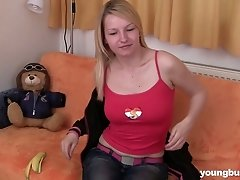 Horny blonde Jane K fucks her tight pussy with her toy