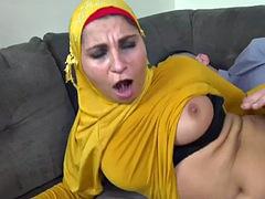 innocent blowjob from busty muslim