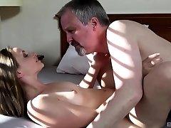 Older guy finally talks Lady Bug into pleasing his hard cock