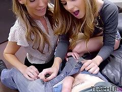 Two bad students Jillian Janson and her girlfriend seduce their teacher