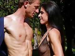 Pretty wife being fucked by her husband crazily outdoor