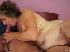 Big titty granny chick fucked hard in her hairy pussy