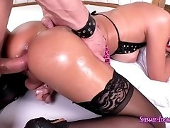 Busty blonde tranny boned