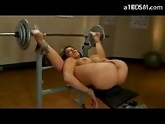 Blonde Busty Girl With Legs Up Tied To Weight Bench Rubbed With Icecube Ass Fingered Fucked With Dildo Pussy Stimulated With Vibrator By Master In The