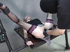 Tied up slut got her pee hole destroyed BDSM porn