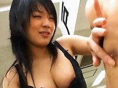 Breasty floozy loves to jump up and down on large sex toy