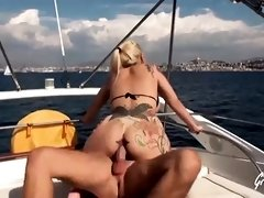 Busty blonde likes to get fucked on a yacht