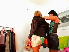 Sexy topless blonde tries on dresses and flirts with stylist