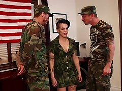 Kinky military girl in uniform gets fucked silly in an alluring mmf threesome