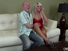 Slutty looking bleach blonde girl fucks a thick cock guy