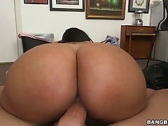 Curvy Latina hottie is bouncing her big booty while riding hard dick on top