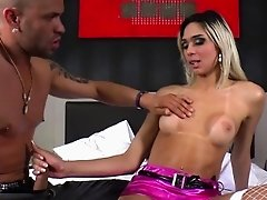 Hot TS Britney sucks a huge cock and gets fucked in her tigh