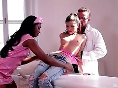 Interracial FFM threesome with Jasmine Webb and Gina Gerson