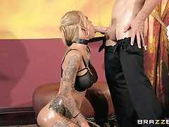 Hardcore rough doggy fuck and cum in mouth of tattooed Bonnie Rotten