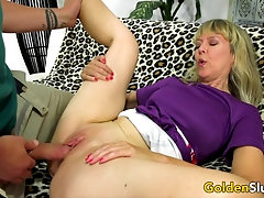 Horny British Grandma Jamie Foster Slides Her Pussy up and down a Long Dick