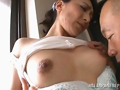 Delicious Japanese babe Marina Matsumo takes it from a bold guy