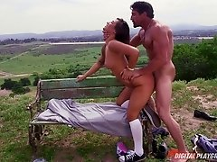 Fat dick guy fucking sexy Eva Lovia on a park bench