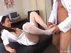 Horny Japanese nurse fucking a patient on her first day on the job