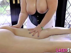 Massaging granny titfucks