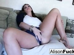 Phat breasted brown-haired, Alison Tyler is toying with her milk knockers and cascading raw honeypot