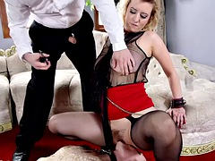 Busty BDSM subs punished with bondage and sex