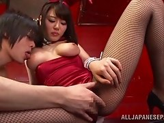 Pretty Japanese girl leaves her pantyhose on while fucking