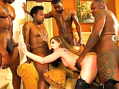 Black men are fucking her in merciless modes