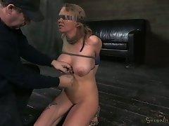 Blind folded shibari blonde Rain DeGrey brutally deep throated