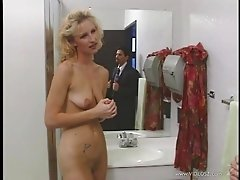 Blonde mom Sahara Sands gets anal fucked in the bathroom