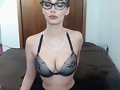 Sexy mature with glasses girl masturbates