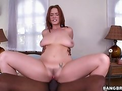 Porn star with big tits is fucked by a big cock in an outdoor sex