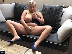 Busty milf amateur fingering her tight cunt