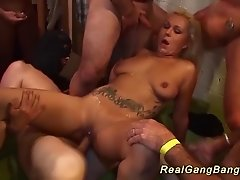 Hot big natural breast german tattooed babe extreme wild gangbanged
