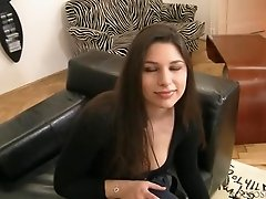 Stunning Zafira licks a dildo and toys her tight pussy