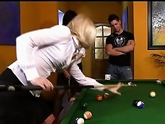 Two bitchy teens win at pool and fuck a looser right on a