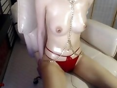 korean oiled camgirl in red swimsuit