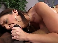Big boobed brunette MILF Sara Jay blows BBC and gets her toes licked by her hubby