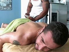 Awesome gay masseur gets dick white blown