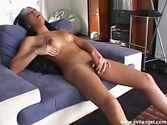 Hot Asian masturbation with sexy porn tranny in action