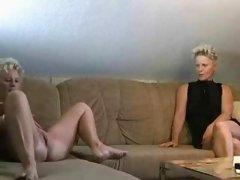 Two Blond Mature Sluts Share Stud