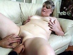 Blonde mature amateur British BBW bo gets her enormous tits sucked